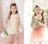 Hot sale baby girls summer dress sweet princess girls sleeveless dress/slip dress lace decoration kids TUTU bubble dress