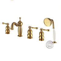 Three handle&One shower head bathtub Gold Faucet.Three handle&One shower head Tub faucet.Bathroom 5 sets tub Mixer Tap GY-8359KP