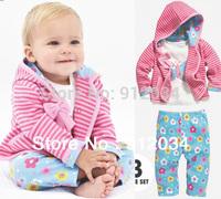 2014 spring baby girl clothes 3 pcs set infant toddler girl clothes suit stripe coat + t-shirt + flower pants children outerwear