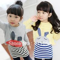 2013 autumn bugs bunny girls clothing baby child stripe skirt twinset tz-0656