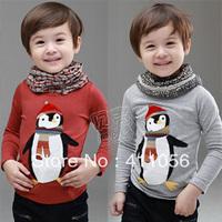 2013 autumn penguin boys clothing girls clothing baby child long-sleeve T-shirt tx-1516 basic shirt