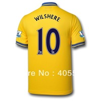 Free shipping 13/14 arsenal WILSHERE away soccer jerseys,Thailand quality soccer uniforms football shirts