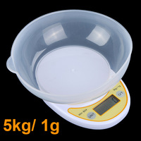5kg/ 1g 5000g Portable Digital Electronic Kitchen Scale Food Parcel Weighing Balance with Bowl Free Shipping wholesale