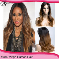 2013 top selling free shipping beautiful virgin full lace wig two tone hair wigs