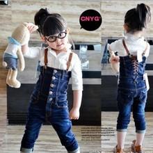 BP025 2013 Hot selling children bib pants fashion girls denim overalls Autumn kids suspender trousers Wholesale And Retail(China (Mainland))