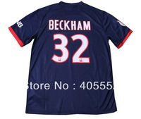 free shipping 13/14 Paris Saint Germain PSG BECKHAM home soccer jerseys,Thailand soccer uniforms emborided logo shirts