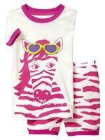 Горячее надувательство! ! ! Белый зебра ребенок короткий рукав пижамы, девушки пижамы 100% хлопок бесплатная доставка 6 комплектов / серия (6 размеров)