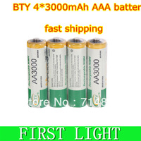 Free shipping 1.2V 4 * 3000mAh NIMH   AA Rechargeable Batteryrechargeable / storage  Battery / accumulator
