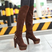 Autumn and winter women's shoes sexy over-the-knee 25pt color block decoration boots buckle boots platform high-leg high-heeled