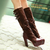 Autumn and winter women's shoes punk patchwork lacing martin boots platform ultra high heels boots thick heel boots high-leg