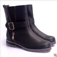 2013 low boots martin boots buckle side zipper flat heel round toe boots motorcycle boots