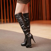 2013 autumn and winter fashion two ways high-heeled boots round toe platform high boots