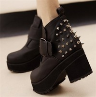All-match black shoes platform shoes thick heel shoes platform fashion rivet boots female ankle-length