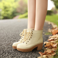 Free shipping women popular chunky heel ankle boots with lace up and trifle pattern joker preppy style martin boots