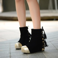 Fashion medium-leg elevator boots round toe winter boots black women's shoes tassel