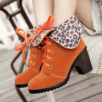 Female shoes fashion leopard print lacing thick heel boots high heels size