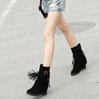 2013 autumn and winter fashion tassel boots scrub boots wedge platform ankle boots slip-resistant boots