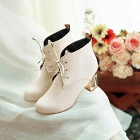 Fashion autumn new arrival women's shoes vintage belt martin boots elegant high-heeled boots thick heel boots