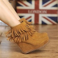 2013 vintage tassel female boots scrub genuine leather platform wedges female boots high-heeled boots
