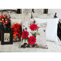 Rose guelder quality sofa cushion cover rustic american embroidery three-dimensional embroidered pillow fashion fluid