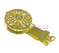 Free shipping!!!Brass Box Clasp,quality, Flat Round, gold color plated, single-strand & hollow, nickel, lead & cadmium free