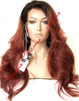 Hot selling Two Tone bodywave Synthetic Lace Front wig # 1B/350 (Samuela-22.3M)