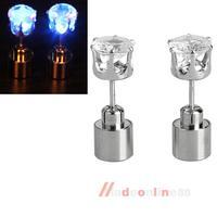 Glowing LED Earrings Ear Drop Party Crystal Pendant Outstanding Blue Light M3AO