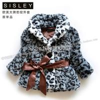 2014 girls outerwear winter fashion fox leopard print slim belt  children's jacket