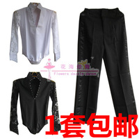 Male child Latin dance costume adult child Latin dance performance wear set competition clothing long-sleeve top trousers