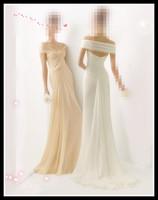 Victorian Wedding Gowns Off-Shoulder Champagne White Chiffon Beach Wedding Bridal Gowns Hot  Sale