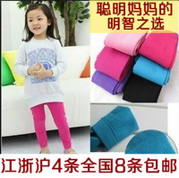Free shipping Autumn and winter child candy color inside brushed thickening pantyhose legging stockings warm pants