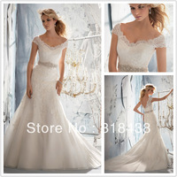 Free shipping TY-56 Elegant Sheath V-neck  Beaded Appliques Voile Wedding Dress Write/Ivory Custom-made
