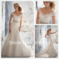 New Design TY-56 Elegant Sheath V-neck  Beaded Appliques Voile Wedding Dress White/Ivory VESTIDO DE NOIVA