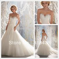 New Design  LK-98 Elegant A-Line Sweetheart  Crystal Beading Lace Appliques Voile Wedding Dress White/Ivory VESTIDO DE NOIVA