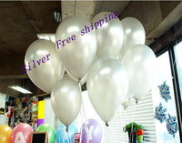wholesale 100pc/lot 10' inch1.5g Silver Helium Latex Balloons Party Wedding Birthday Decoration Balloon Classic Toy