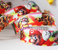 Free shipping 7/8'' (22mm) Super Mario printed ribbon Polyester Grosgrain ribbon hair accessories