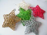 FreeShipping Medium 15CM Christmas accessories christmas five-pointed star rattan five-pointed star christmas tree decoration