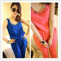 Free Shipping! 1PC New Korea Fashion Women's Ladies Girls Loose Gem Decoration Vest Chiffon 5 Colors Long Jumpsuits