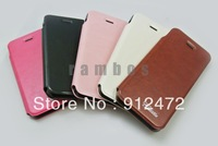300pcs/lot PU Leather Case for iphone 5 Mobile Flip Cover with Stand Book Style, free shipping