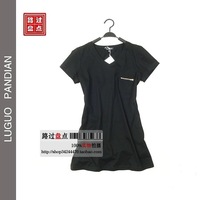 13 spring and summer pocket zipper women's V-neck basic t-shirt all-match medium-long short-sleeve t-shirt