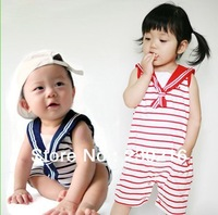 2013 hot Children Romper baby clothes boy short sleeve navy stripe romper Jump Suit black red 3pcs