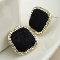 Fashion stud earring fur black square rhombus stud earring elegant wild earrings