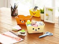 Free Shipping Kawaii Rilakkuma&Little Chicken Plastic Storage Box Desktop Organizer Finishing Box Retail