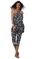 aolover women Sexy printed  wording sleeveless jumpsuit 1448 GREY 2 colors romper costumes wholesale lingerie