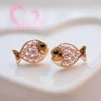 Sweet small delicate pink pearl all-match dollarfish stud earring gold plated earring female