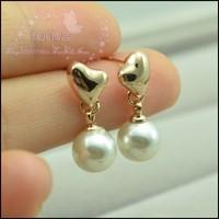Sweet rose gold peach heart pearl earrings gentlewomen small stud earring brief ol accessories