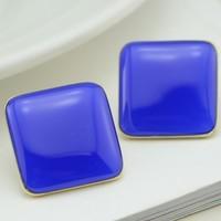 Fashion personality fashion navy blue squares on the rhombus stud earring big female ol simple elegant