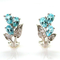 Wholesale Luxury Wedding Gift Natural Sky Blue Topaz Clip On Earrings Cuff For Girls .925 Sterling Silver Free Shipping
