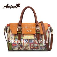Artmi2014new arrivals autumn women's handbag vintage oil print  messenger bag discount item designer  wholesale free shipping