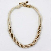2013 New Arrives Hot Fashion Cotton Cord And Alloy Chain Style Choker Necklace for Women  AN-009